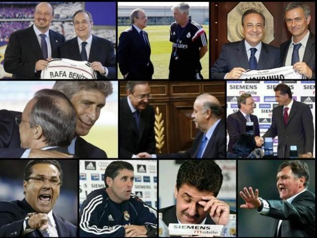 Los 10 entrenadores en el mandato de Florentino Pérez. Fuente: Mundo Deportivo