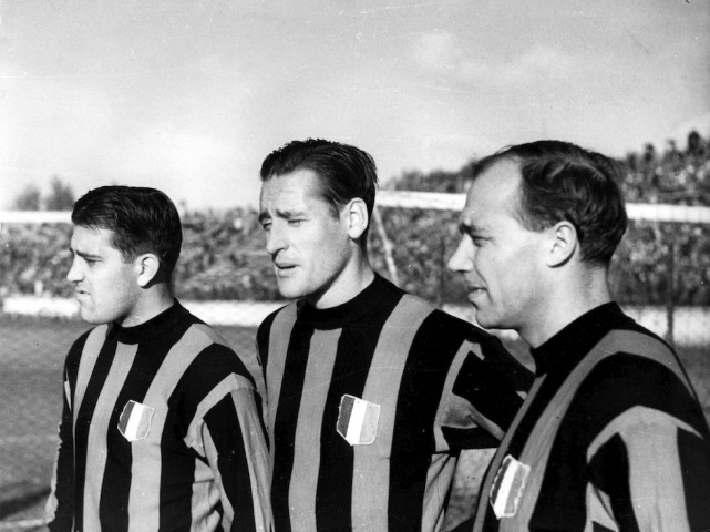 AC Milan soccer star players, from left, Gunnar Nordahl, Nils Liedholm and Gunnar Gren, all from Sweden, pose together in this undated photo taken in Milan, Italy. (Ap Photo/Carlo Fumagalli)