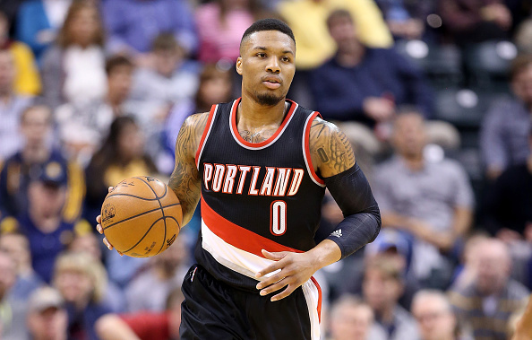 INDIANAPOLIS, IN - FEBRUARY 28: Damian Lillard #0 of the Portland Trail Blazers dribbles the ball during the game against the Indiana Pacers at Bankers Life Fieldhouse on February 28, 2016 in Indianapolis, Indiana. NOTE TO USER: User expressly acknowledges and agrees that, by downloading and or using this photograph, User is consenting to the terms and conditions of the Getty Images License Agreement. (Photo by Andy Lyons/Getty Images)