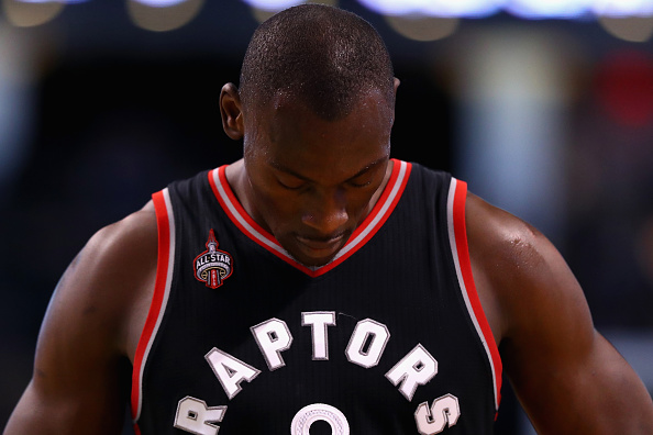 BOSTON, MA - MARCH 23: Bismack Biyombo #8 of the Toronto Raptors exits the court after the Raptors 91-79 loss to the Boston Celtics at TD Garden on March 23, 2016 in Boston, Massachusetts. (Photo by Maddie Meyer/Getty Images)
