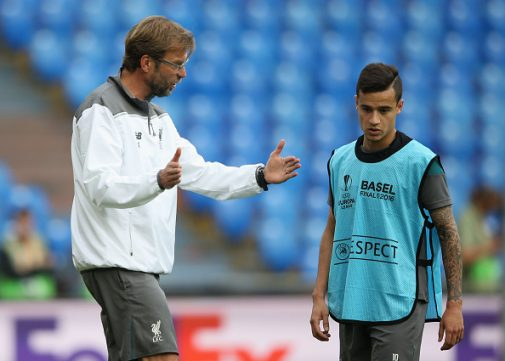 Klopp y Coutinho en el entrenamiento previo a la final de la Europa League | Getty Images