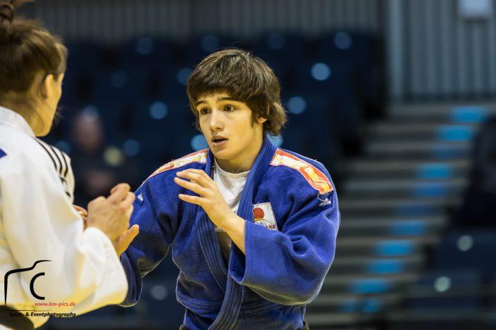 Duesseldorf, Germnay, February 20 - Viola Waechter (GER), Jaione Equisoain (ESP) - Judo Grand Prix Duesselorf 2015