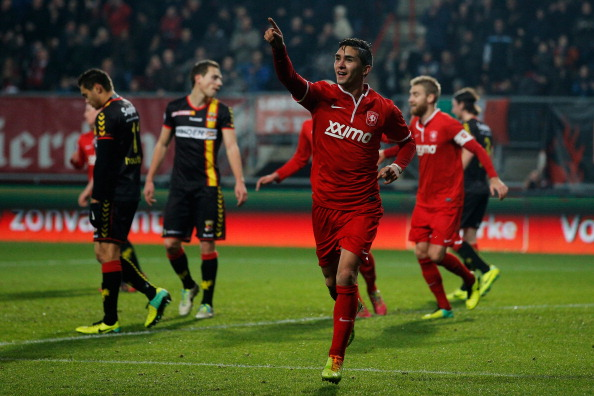 ENSCHEDE, NETHERLANDS - DECEMBER 14: Felipe Gutierrez of Twente celebrates scoring the first goal of the game during the Eredivisie match between FC Twente and Go Ahead Eagles at De Grolsch Veste Stadium on December 14, 2013 in Enschede, Netherlands. (Photo by Dean Mouhtaropoulos/Getty Images)