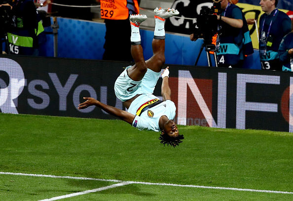 TOULOUSE, FRANCE - JUNE 26: Michy Batshuayi of Belgium celebrates scoring his team's second goal during the UEFA EURO 2016 round of 16 match between Hungary and Belgium at Stadium Municipal on June 26, 2016 in Toulouse, France.  (Photo by Dean Mouhtaropoulos/Getty Images)