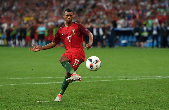 MARSEILLE, FRANCE - JUNE 30: Nani of Portugal scores at the penalty shootout during the UEFA EURO 2016 quarter final match between Poland and Portugal at Stade Velodrome on June 30, 2016 in Marseille, France. (Photo by Laurence Griffiths/Getty Images)