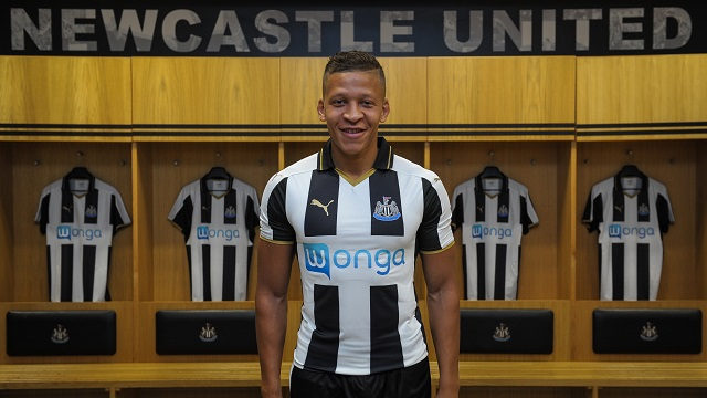 NEWCASTLE UPON TYNE, ENGLAND - JUNE 28: New signing Dwight Gale poses for a photograph in the Home Dressing room wearing the New NUFC 2016/17 Kit at St.James' Park on June 30, 2016 in Newcastle upon Tyne, England. (Photo by Serena Taylor/Newcastle United via Getty Images) *** Local Caption ***Dwight Gale