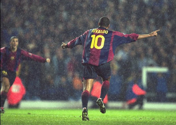 24 Oct 2000:  Rivaldo of Barcelona celebrates his dramatic last minute equaliser during the UEFA Champions League match against Leeds United played at Elland Road, in Leeds, England. The match ended in a 1-1 draw.  Mandatory Credit: Clive Mason /Allsport