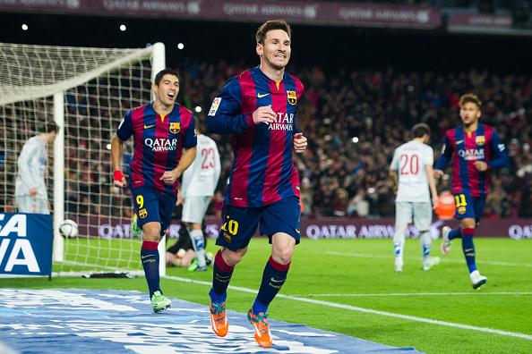 Leo Messi celebra uno de sus tantos goles al Atlético de Madrid | Getty Images