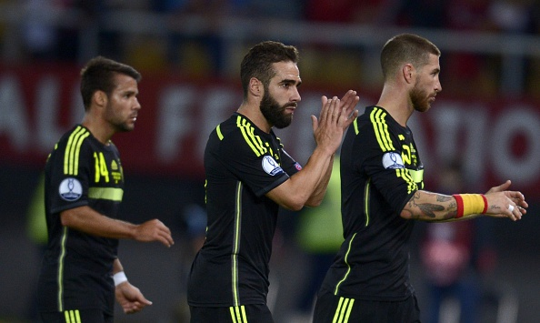 Spain's Defender Dani Carvajal celebrates after winning the Euro 2016 Group C qualifying football match against Macedonia at the Filip II Arena stadium in Skopje on September 8, 2015. Spain won the match 0-1.    AFP PHOTO / NIKOLAY DOYCHINOV        (Photo credit should read NIKOLAY DOYCHINOV/AFP/Getty Images)