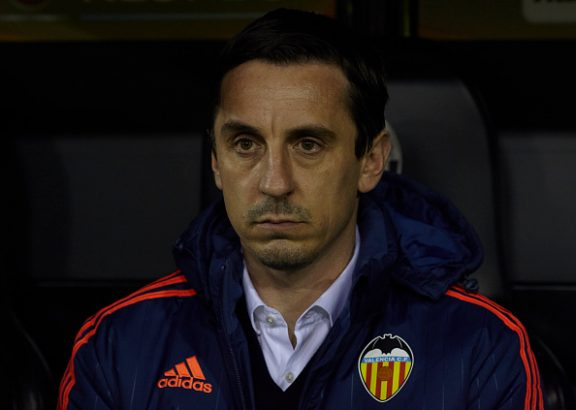 VALENCIA, SPAIN - FEBRUARY 18: Gary Neville manager of Valencia CF looks on prior to the UEFA Europa League round of 32 first leg match between Valencia CF and Rapid Vienna at Estadi de Mestalla on February 18, 2016 in Valencia, Spain. (Photo by Fotopress/Getty Images)