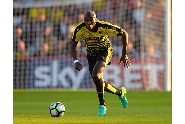 STEVENAGE, ENGLAND - JULY 14: Allan Nyom of Watford during the Pre-Season Friendly match between Stevenage and Watford at The Lamex Stadium on July 14, 2016 in Stevenage, England. (Photo by Tony Marshall/Getty Images)