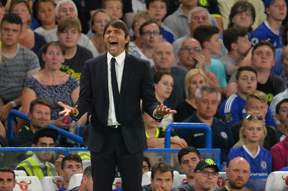 Chelsea's Italian head coach Antonio Conte gestures from the touchline during the English League Cup second round football match between Chelsea and Bristol Rovers at Stamford Bridge in London on August 23, 2016. / AFP / GLYN KIRK / RESTRICTED TO EDITORIAL USE. No use with unauthorized audio, video, data, fixture lists, club/league logos or 'live' services. Online in-match use limited to 75 images, no video emulation. No use in betting, games or single club/league/player publications.  /         (Photo credit should read GLYN KIRK/AFP/Getty Images)