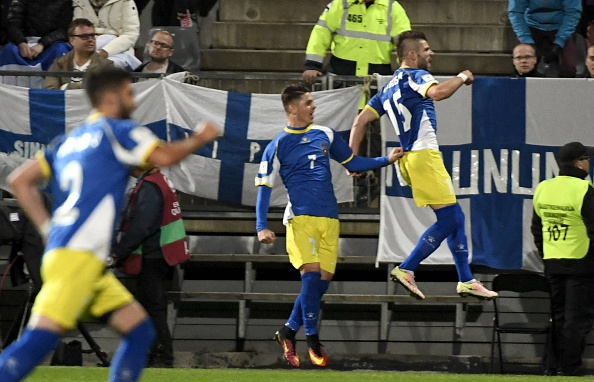 Valon Berisha of Kosovo (15) jubitales after scoring 1-1 against Finland during the WC 2018 football qualification match between (group I) Finland vs Kosovo in Turku on September 5, 2016.   / AFP / Lehtikuva / Jussi Nukari / Finland OUT        (Photo credit should read JUSSI NUKARI/AFP/Getty Images)