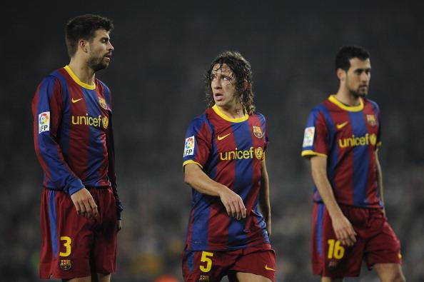 Un eje de leyenda, Piqué, Puyol y Sergio   Getty
