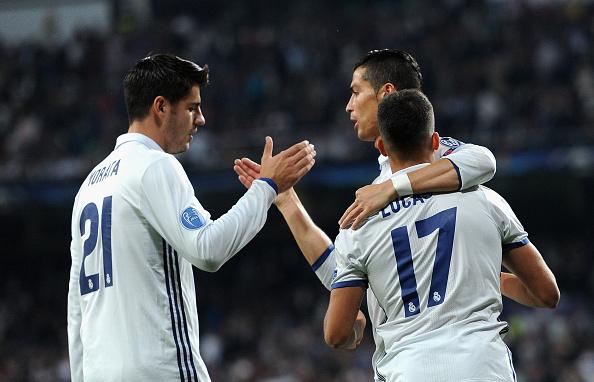 Lucas y Morata celebran junto a Cristiano la victoria ante el Legia | Getty