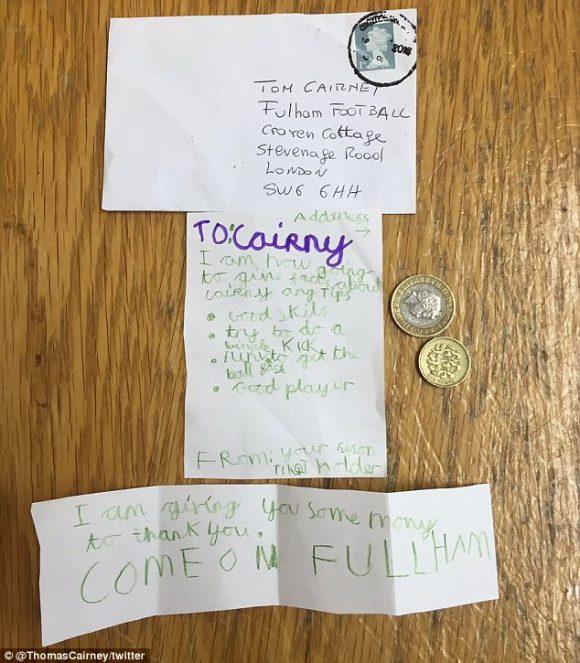 La carta de Marshall a Cairney | Twitter de Tom Cairney