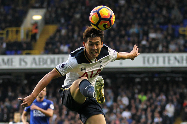 Tottenham Hotspur's South Korean striker Son Heung-Min controls the ball during the English Premier League football match between Tottenham Hotspur and Leicester City at White Hart Lane in London, on October 29, 2016. / AFP / Ian KINGTON / RESTRICTED TO EDITORIAL USE. No use with unauthorized audio, video, data, fixture lists, club/league logos or 'live' services. Online in-match use limited to 75 images, no video emulation. No use in betting, games or single club/league/player publications. / (Photo credit should read IAN KINGTON/AFP/Getty Images)