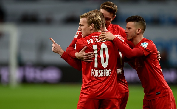 El RB Leipzig celebra un gol ante el B04 | Getty