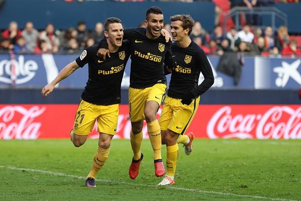 Gameiro celebra su gol junto a Correa y Griezmann | Getty